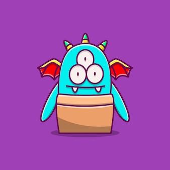 Ilustração de desenho animado de monstro kawaii doodle