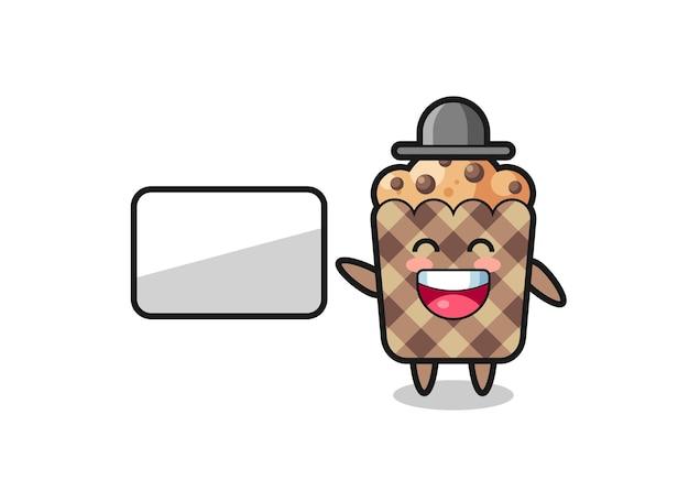 Ilustração de desenho animado de muffin fazendo uma apresentação, design fofo