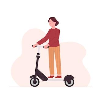 Ilustração de desenho animado de mulher jovem, scooter plana