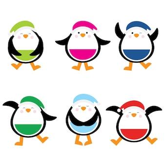 Ilustração de desenho animado de natal com design de conjunto colorido bonito da etiqueta dos pinguins