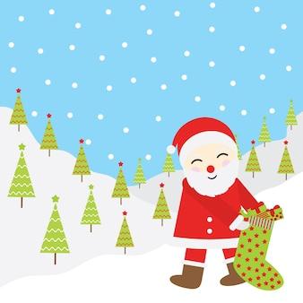 Ilustração de desenho animado de natal papai noel traz meia de natal