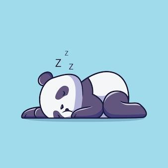 Ilustração de desenho animado de panda fofo dormindo