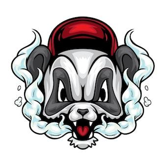 Ilustração de desenho animado de panda fumando