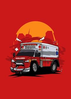 Ilustração de desenho animado de personagem de carro monstro ambulância