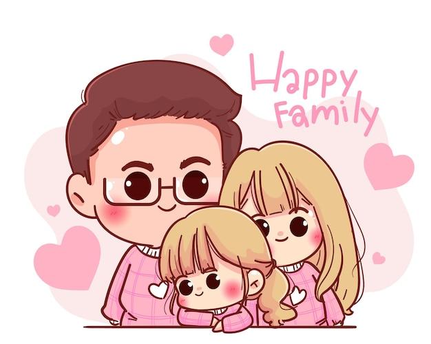 Ilustração de desenho animado de personagem de família feliz