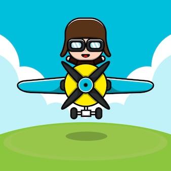 Ilustração de desenho animado de personagem piloto fofa
