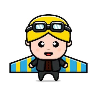 Ilustração de desenho animado de personagem piloto fofo