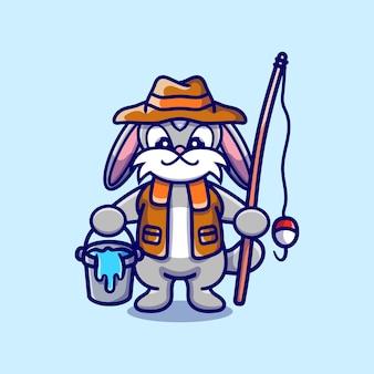Ilustração de desenho animado de pescador coelhinho fofo