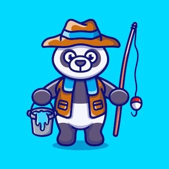 Ilustração de desenho animado de pescador panda fofo