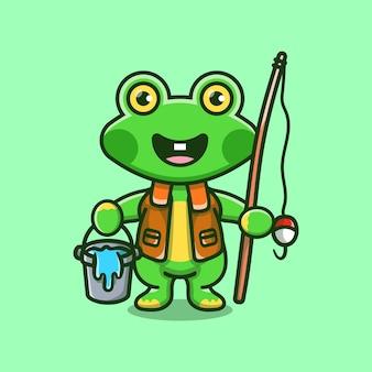 Ilustração de desenho animado de pescador sapo fofo