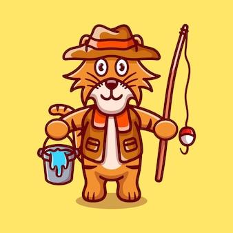 Ilustração de desenho animado de pescador tigre fofo