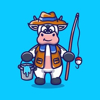Ilustração de desenho animado de pescador vaca fofa