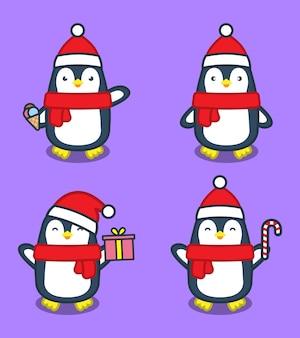 Ilustração de desenho animado de pinguins