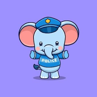 Ilustração de desenho animado de policial elefante fofo amigável