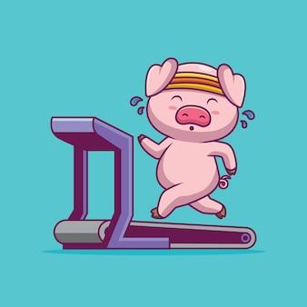 Ilustração de desenho animado de porco fofo correndo na esteira