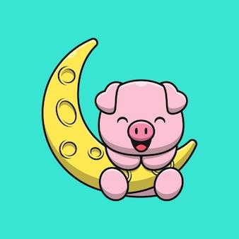 Ilustração de desenho animado de porco fofo na lua