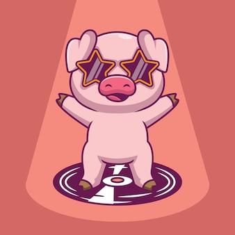 Ilustração de desenho animado de porco fofo