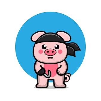 Ilustração de desenho animado de porco pirata fofo