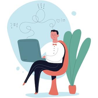 Ilustração de desenho animado de psicólogo online