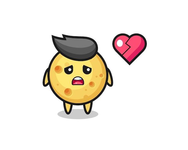 Ilustração de desenho animado de queijo redondo é coração partido, design de estilo fofo para camiseta, adesivo, elemento de logotipo
