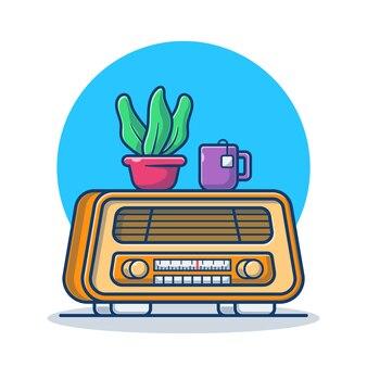 Ilustração de desenho animado de rádio vintage com planta e uma xícara de café