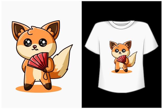 Ilustração de desenho animado de raposa fofa e legal