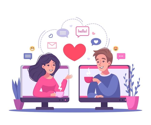 Ilustração de desenho animado de relacionamentos virtuais online