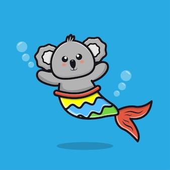 Ilustração de desenho animado de sereia coala fofa