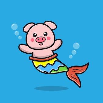 Ilustração de desenho animado de sereia de porco fofinho