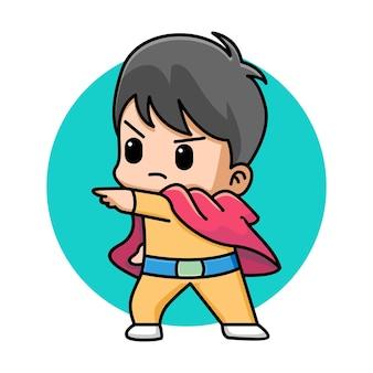 Ilustração de desenho animado de super-herói de menino fofo