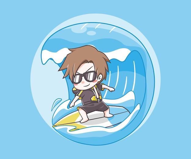 Ilustração de desenho animado de surfando menino fofo