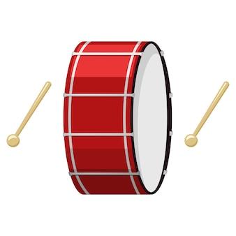 Ilustração de desenho animado de tambor e baqueta