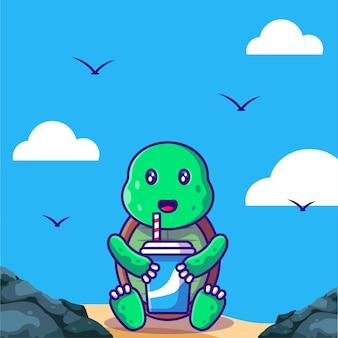 Ilustração de desenho animado de tartaruga fofa com bebida