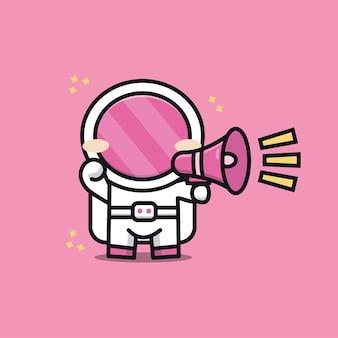 Ilustração de desenho animado de um astronauta fofo Vetor Premium