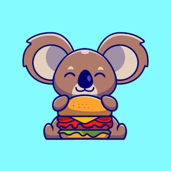 Ilustração de desenho animado de um coala fofo comendo hambúrguer