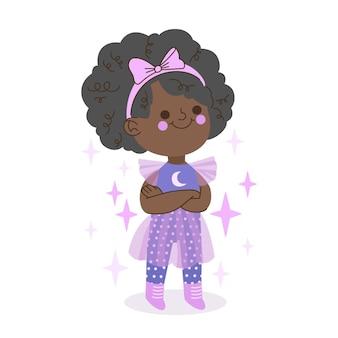 Ilustração de desenho animado de uma garota negra fantasiada de fada