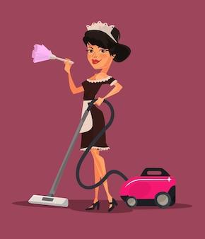 Ilustração de desenho animado de uma personagem de empregada doméstica a aspirar