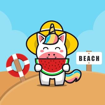 Ilustração de desenho animado de unicórnio fofo comendo melancia na praia