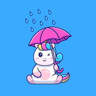 Ilustração de desenho animado de unicórnio fofo segurando guarda-chuva