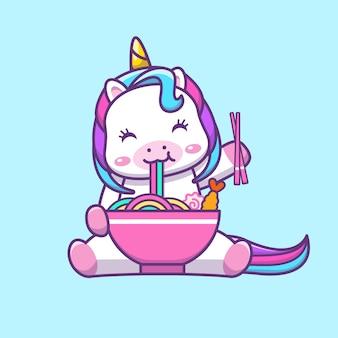 Ilustração de desenho animado de unicórnio kawaii fofo comendo macarrão com arco-íris