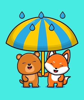 Ilustração de desenho animado de urso fofo e raposa animal amigo