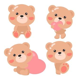 Ilustração de desenho animado de urso fofo