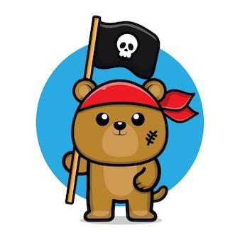 Ilustração de desenho animado de urso pirata fofo