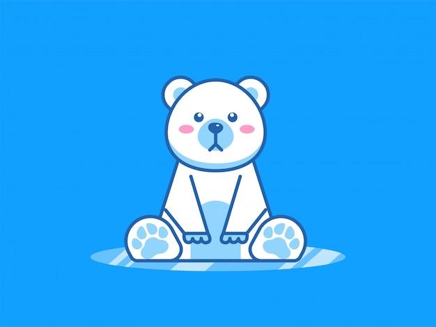Ilustração de desenho animado de urso polar fofo