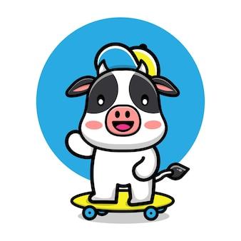 Ilustração de desenho animado de vaca fofa brincando de skate