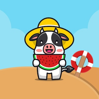 Ilustração de desenho animado de vaca fofa comendo melancia na praia
