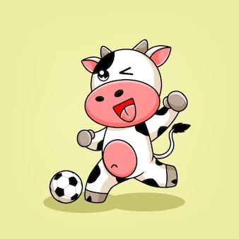Ilustração de desenho animado de vaca jogando futebol