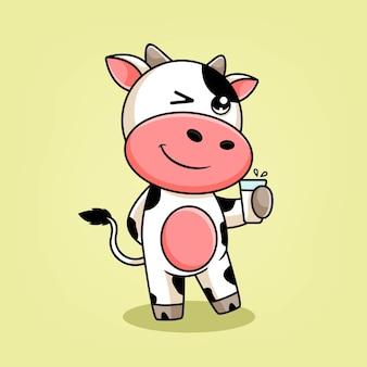 Ilustração de desenho animado de vaca segurando um copo de leite