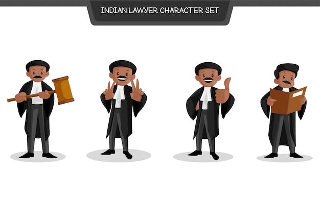 Ilustração de desenho animado do conjunto de caracteres de advogado indiano