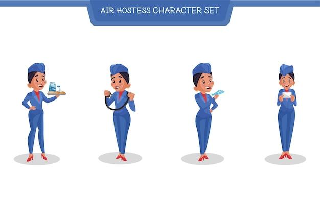 Ilustração de desenho animado do conjunto de caracteres de aeromoça